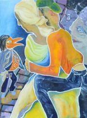 52237 Kunst af Birgit Mau_fuglen i guldsko