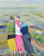 52265 Kunst af Birgit Mau_tre Kvinder på tur